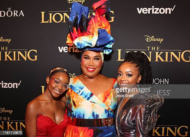Marsai Martin Patrick Starrr and Skai Jackson attend the World Premiere of Disney's THE LION KING at the Dolby Theatre on July 09 2019 in Hollywood...