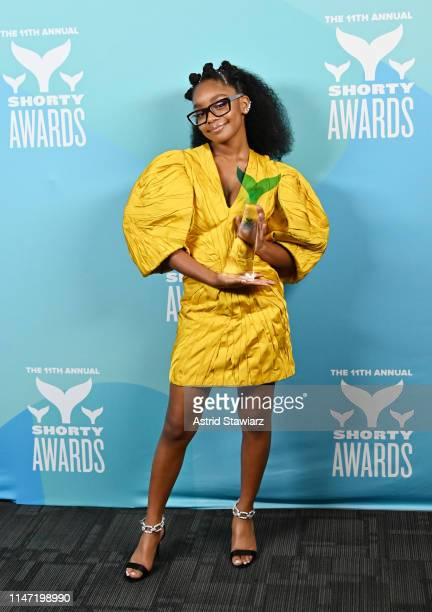 Marsai Martin poses backstage in the Winner's Cave during the 11th Annual Shorty Awards on May 05 2019 at PlayStation Theater in New York City