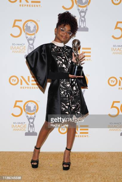 Marsai Martin poses in the press room at the 50th NAACP Image Awards NonTelevised Dinner at Beverly Hilton Hotel on March 29 2019 in Beverly Hills...