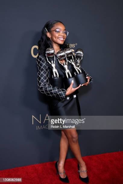 Marsai Martin poses with the Outstanding Supporting Actress in a Comedy Series and Outstanding Performance by a Youth awards for Blackish and the...
