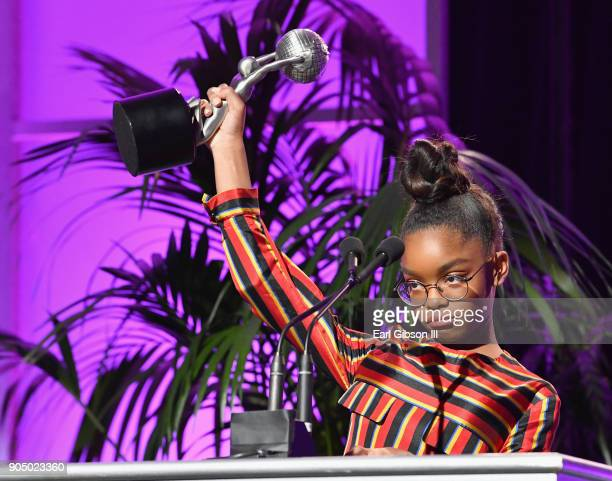 Marsai Martin winner of the Outstanding Supporting Actress in a Comedy speaks onstage at the 49th NAACP Image Awards NonTelevised Awards Dinner at...