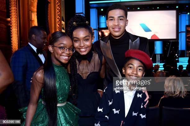 Marsai Martin Yara Shahidi Marcus Scribner and Miles Brown pose during the 49th NAACP Image Awards at Pasadena Civic Auditorium on January 15 2018 in...