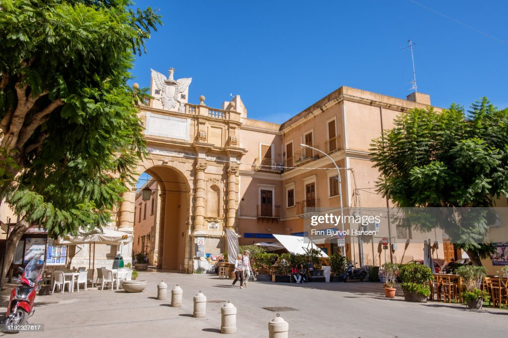 Marsala, Sicily, Italy - October 17, 2019 - The entrance to the old city : Stock Photo