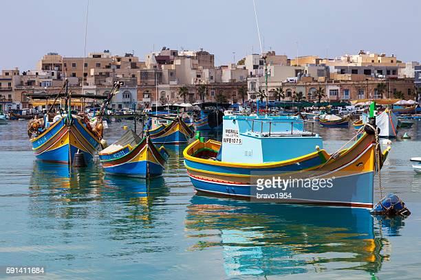 marsaxlokk fishing village, malta - marsaxlokk stock pictures, royalty-free photos & images