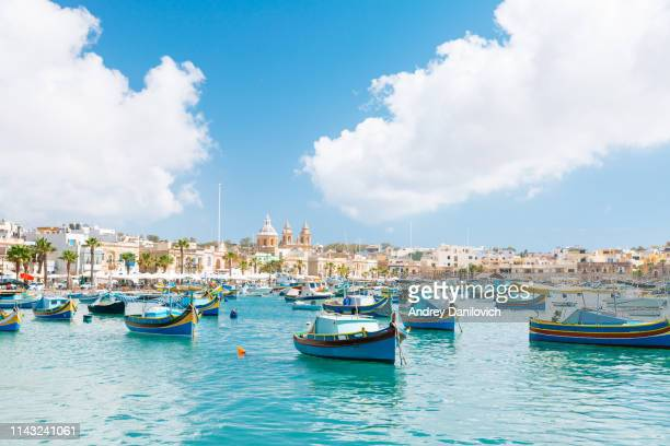 marsaxlokk harbor, malta - marsaxlokk stock pictures, royalty-free photos & images