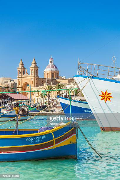 marsaxlokk harbour, our lady of pompeii church and traditional fishing boats, marsaxlokk, malta, mediterranean, europe - marsaxlokk stock pictures, royalty-free photos & images