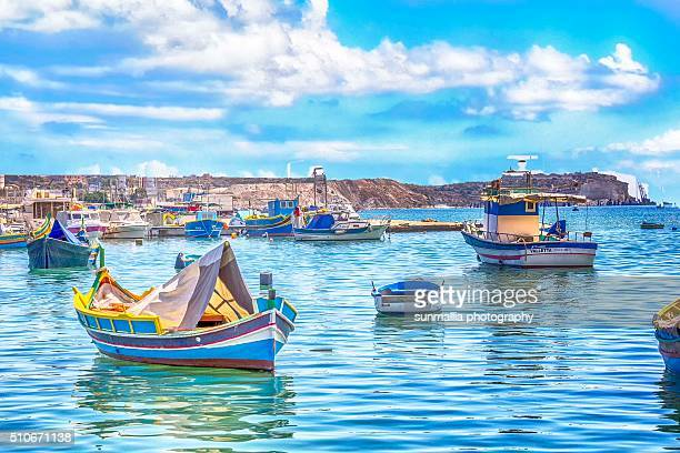 marsaxlokk seascape - marsaxlokk stock pictures, royalty-free photos & images