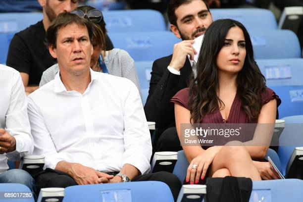 Marseille coach Rudi Garcia and his wife Francesca Brienza during the U19 National Cup Final match between Montpellier and Olympique de Marseille at...