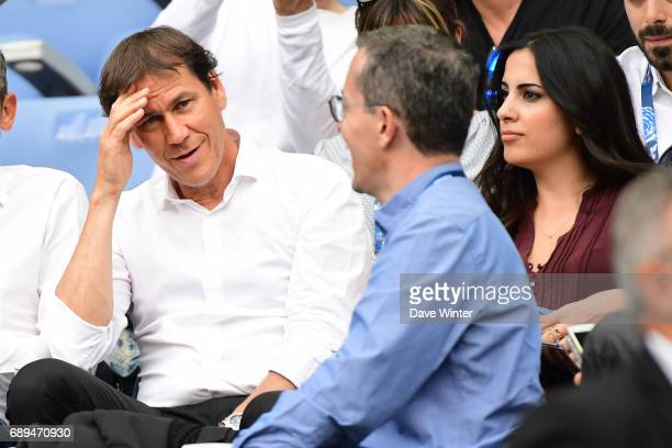 Marseille coach Rudi Garcia Marseille president Jacques Henri Eyraud and and his wife Francesca Brienza during the U19 National Cup Final match...