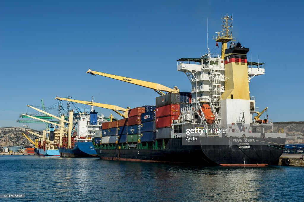 Marseille (south-eastern France). . Container terminal of Marseille Fos Port (French GPMM). CMA GGM container ship 'Vega Sigma', flying the flag of convenience of Liberia.