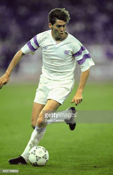 Marseille forward Chris Waddle in action during the European Cup final between Red Star Belgrade and Marseille on May 29 1991 in Bari Italy