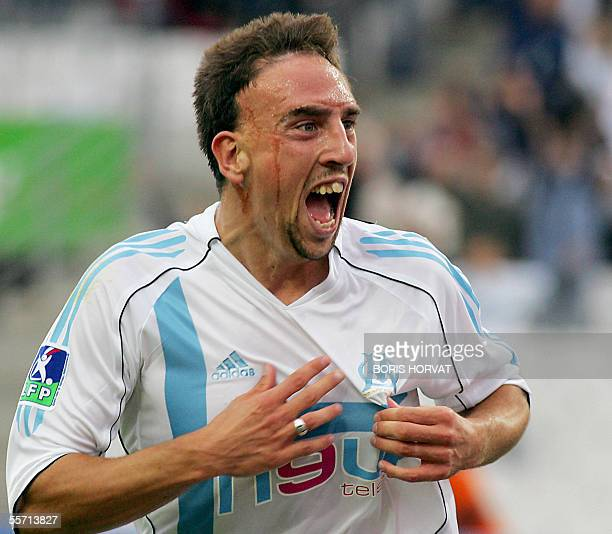 Marseille's French forward Franck Ribery jubilates after scoring against Troyes during their French L1 football match 18 September 2005 at the...