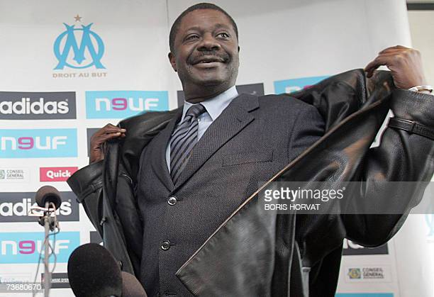 Olympique Marseille President Pape Diouf gets ready before giving a speech during a press conference 23 March 2007 in Marseille Southern France to...