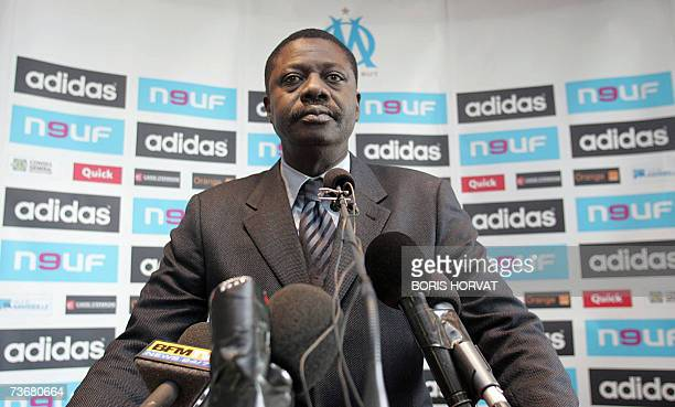 Olympique Marseille President Pape Diouf gives a speech 23 March 2007 in Marseille Southern France following the failure of the purchase by Canadian...