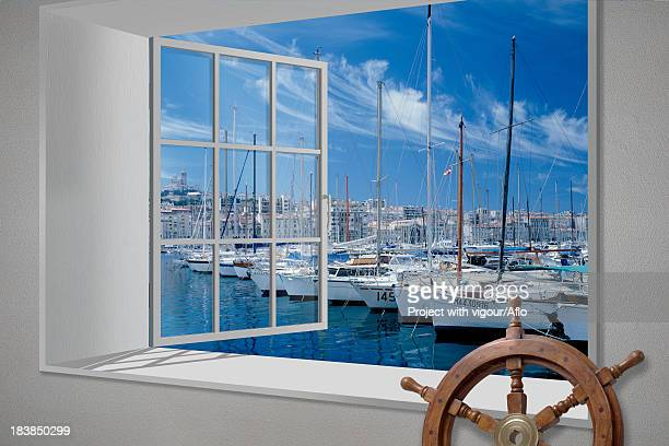 Marseille harbor view from white window