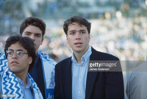 Marseille Laurent Tapie son of the french businessman Bernard Tapie attends a soccer match 24th April 1991