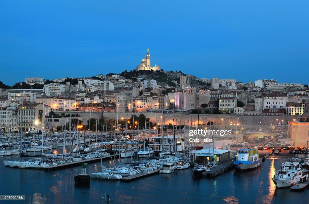 Marseille Old Port at Night : Stock Photo