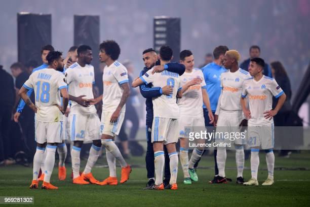 Marseille players look dejected following the UEFA Europa League Final between Olympique de Marseille and Club Atletico de Madrid at Stade de Lyon on...