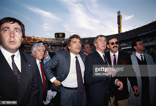 Marseille president Bernard Tapie and Ted Croker look on before the European Cup semi final second leg between Benfica and Portugal on April 18 1990