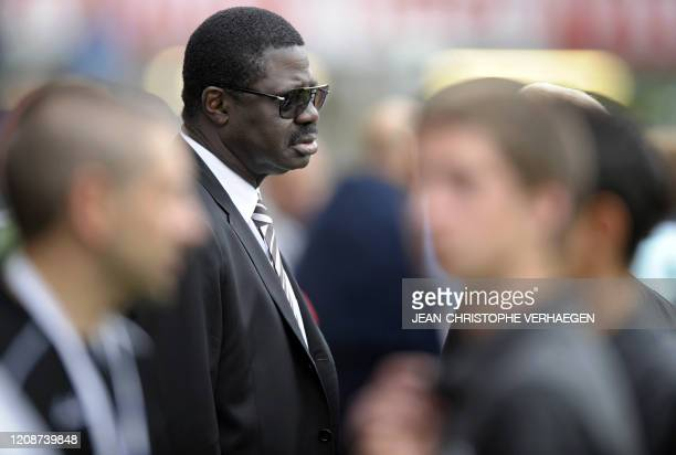 Marseille president Pape Diouf waits the start of the French L1 football match Nancy vs Marseille at Marcel Picot stadium on May 23th 2009 in...