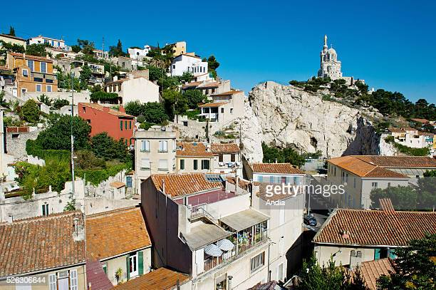 Small houses and lanes in the Vauban District on the hill of Notre Dame de la Garde.