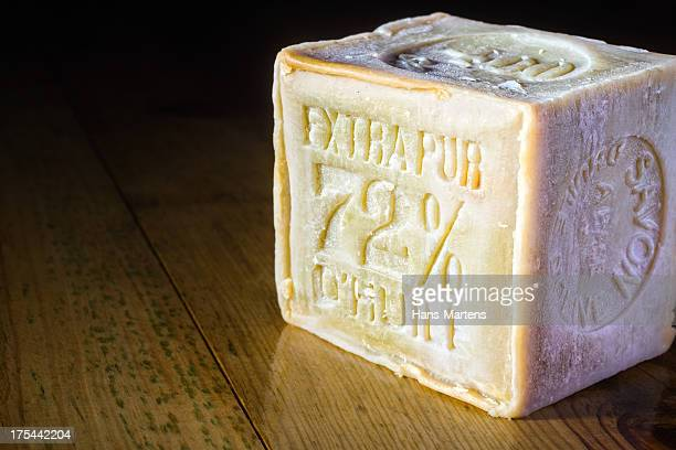 Marseille Soap bar with 72% olive oil on wooden table