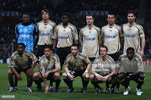 Marseille team line up during the Uefa Cup last sixteen first leg match between Olympique Marseille and Ajax at the Stade Velodrome on March 12, 2009...