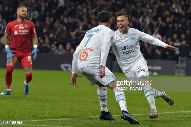 TOPSHOT Marseille's Argentine forward Dario Benedetto celebrates after scoring a goal during the French L1 football match between Toulouse and...