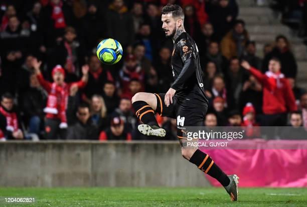 Marseille's Argentine forward Dario Benedetto kicks the ball and scores a goal during the French L1 football match between Olympique de Marseille and...