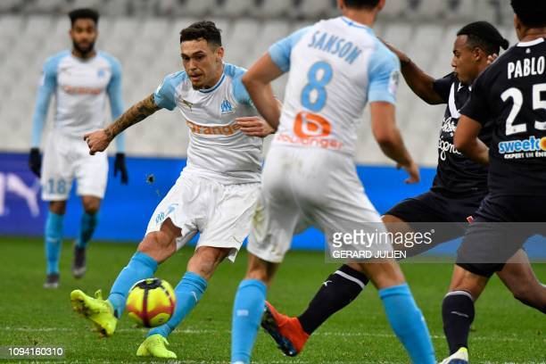 Marseille's Argentine midfielder Lucas Ocampos controls the ball during the French L1 football match between Olympique de Marseille and FC Girondins...