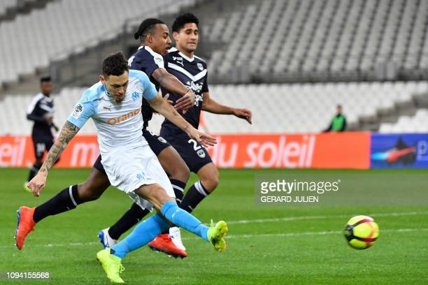 Marseille's Argentine midfielder Lucas Ocampos shoots the ball during the French L1 football match between Olympique de Marseille and FC Girondins de...