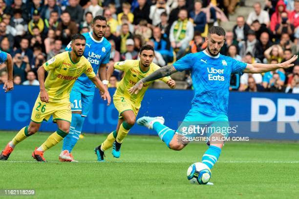 TOPSHOT Marseille's Argentinian forward Dario Benedetto misses a penalty during the French L1 football match between Nantes and Olympique de...