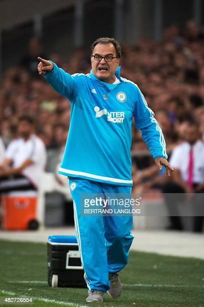 Marseille's Argentinian head coach Marcelo Bielsa gestures during the Robert LouisDreyfus trophy friendly football match Olympique de Marseille vs...