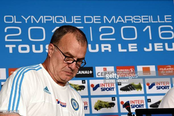 Marseille's Argentinian head coach Marcelo Bielsa gives a press conference at the Commanderie Stadium in Marseille on August 6 a few days before the...