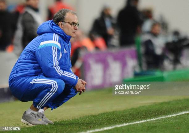 Marseille's Argentinian head coach Marcelo Bielsa looks on during the French L1 football match between Toulouse and Marseille on March 6 2015 at the...