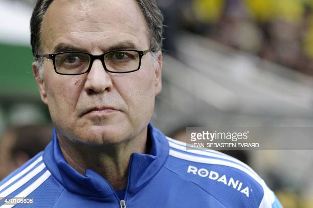 Marseille's Argentinian head coach Marcelo Bielsa looks on during the French L1 football match between Nantes and Marseille on April 17 2015 at the...