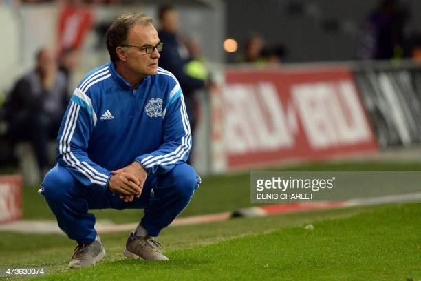 Marseille's Argentinian head coach Marcelo Bielsa looks on during the French Ligue 1 football match between Lille and Marseille on May 16 2015 at the...
