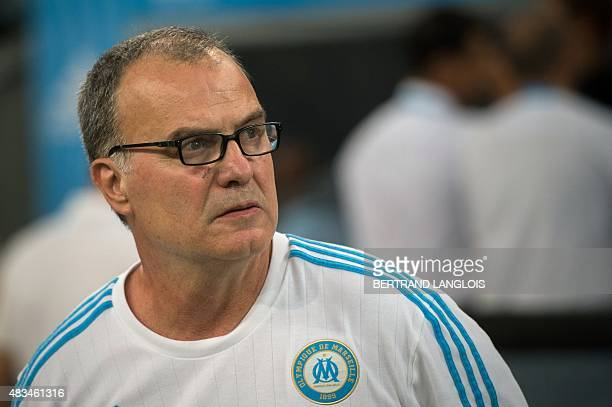 Marseille's Argentinian head coach Marcelo Bielsa looks on prior to the French L1 football match between Olympique de Marseille and Stade Malherbe de...