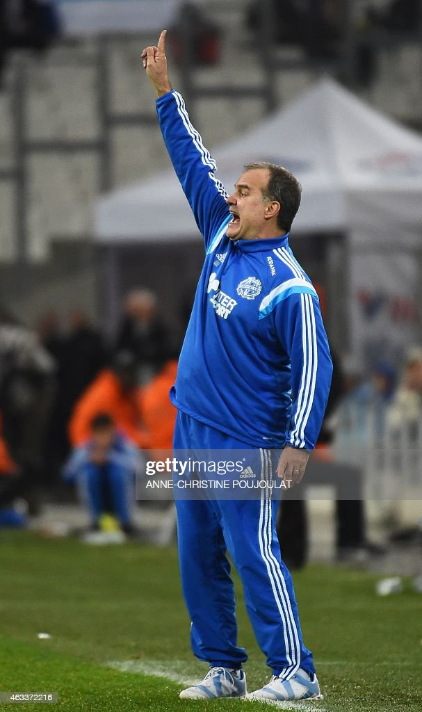 Marseille's Argentinian head coach Marcelo Bielsa reacts during the French L1 football match Marseille vs Reims on February 13, 2015 at the Velodrome stadium in Marseille, southern France.