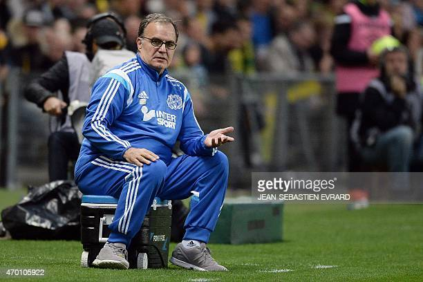 Marseille's Argentinian head coach Marcelo Bielsa reacts during the French L1 football match between Nantes and Marseille on April 17 2015 at the...