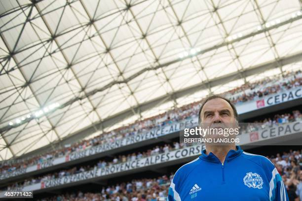 Marseille's Argentinian head coach Marcelo Bielsa stands prior to the French L1 football match Olympique de Marseille vs Montpellier on August 17...