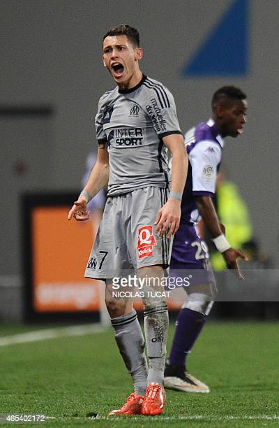 Marseille's Argentinian midfielder Lucas Ocampos reacts during the French L1 football match between Toulouse and Marseille on March 6 2015 at the...