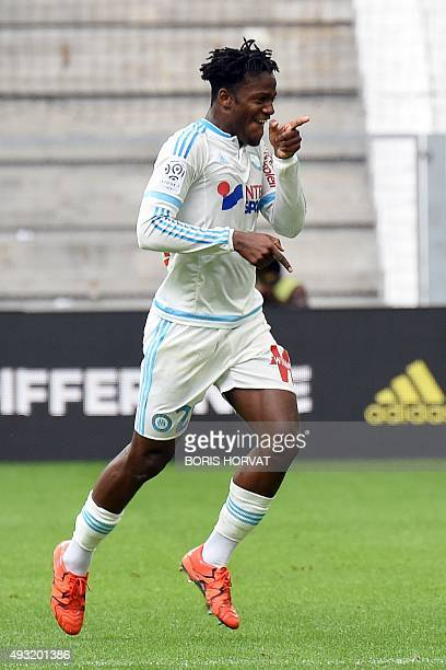 Marseille's Belgian forward Michy Batshuayi celebrates after scoring a goal during the French L1 football match between Olympique de Marseille and...