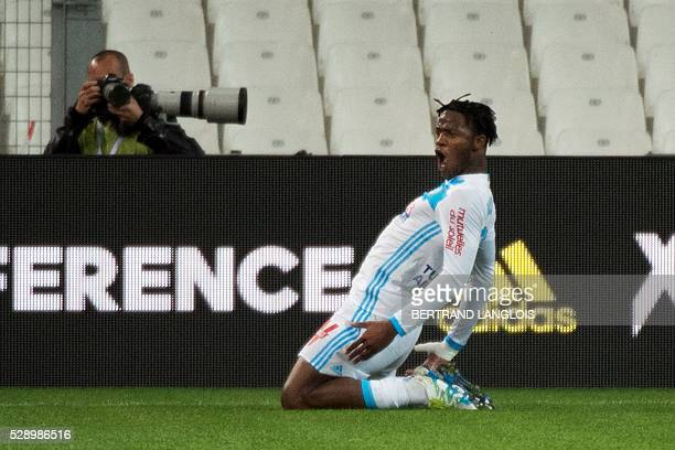 Marseille's Belgian forward Michy Batshuayi celebrates after scoring a goal during the French L1 football match between Marseille and Reims on May 7...