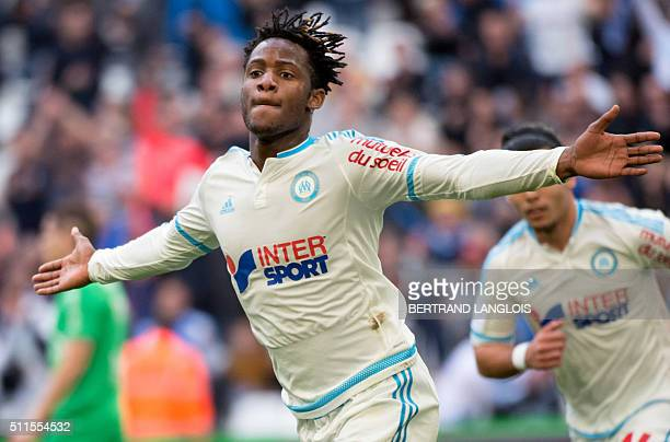 Marseille's Belgian forward Michy Batshuayi celebrates after scoring the 11 goal during the French L1 football match between Olympique de Marseille...
