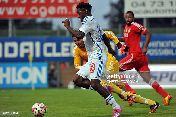 Marseille's Belgian forward Michy Batshuayi runs with the ball to score a goal during the French Ligue 1 friendly football match between Marseille...