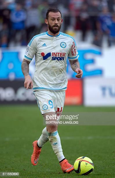 Marseille's British forward Steven Fletcher runs with the ball during the French L1 football match between Olympique de Marseille and SaintEtienne at...