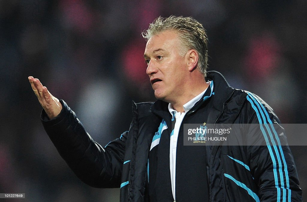 Marseille's coach Didier Deschamps gestures during the French L1 football match Lille vs. Marseille on May 8, 2010 at the Lille metropole stadium in Villeneuve d'Ascq, nothern France.