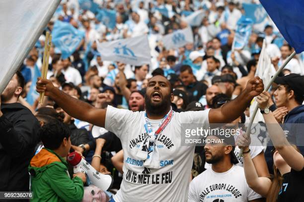 A Marseille's fan gestures before the UEFA Europa League final football match between Olympique de Marseille and Club Atletico de Madrid at the Parc...