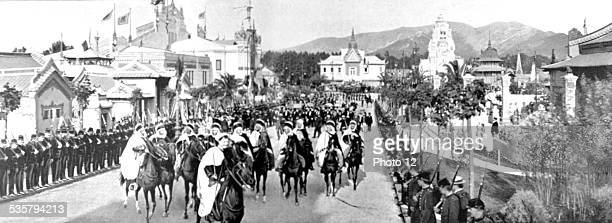 Marseilles France 1906 The Indochina section on the day of King Sisowath of Cambodia's visit at the colonial exhibition